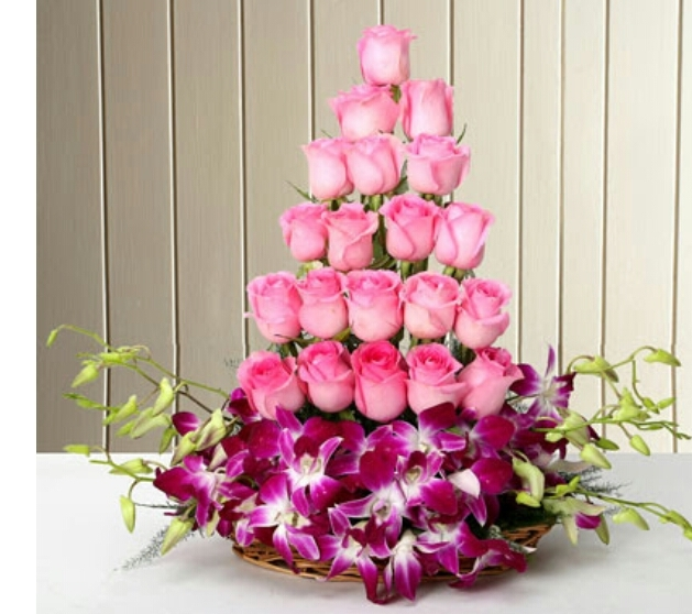 Orchid Pink Rose Basket